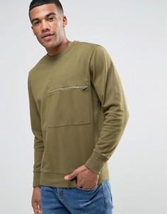 Выбеленный свитер с карманом на молнии Diesel S-ACHILLE - Зеленый