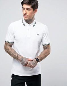 Белая узкая футболка-поло из пике с двойной окантовкой Fred Perry - Белый