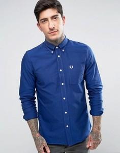 Синяя оксфордская рубашка с длинными рукавами Fred Perry - Синий