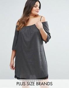 Платье в горошек с открытыми плечами и отделкой кроше Diya Plus - Черный