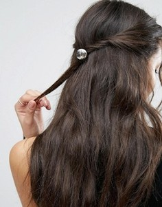 Резинка для волос с гравированным диском ASOS - Серебряный