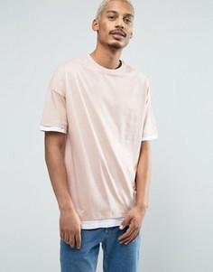 Oversize-футболка со вставками по краю рукавов и низа ASOS - Розовый