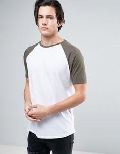 Длинная футболка с контрастными рукавами реглан и асимметричным краем ASOS - Белый