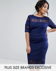Платье-футляр с кружевной вставкой Paper Dolls Plus - Темно-синий