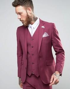 Бордовый приталенный пиджак с цветком на лацкане Devils Advocate Wedding - Розовый