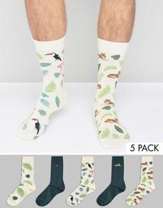 Набор из 5 пар носков с принтом ASOS - Мульти