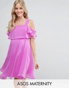 Платье мини на бретельках с открытыми плечами и рукавами клеш ASOS Maternity - Фиолетовый