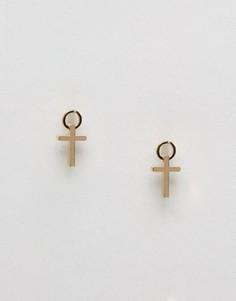 Серьги-подвески с крестом ASOS - Золотой