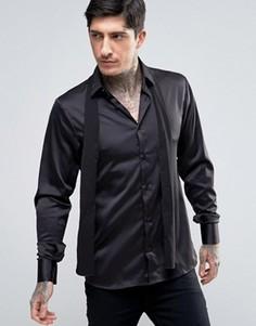 Зауженная рубашка со съемным галстуком-шарфом Rogues Of London - Черный