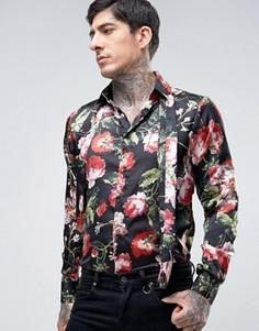 Приталенная рубашка с цветочным принтом и съемным шарфом Rogues Of London - Черный