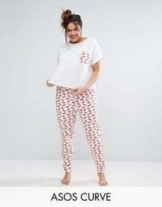Пижамная футболка и леггинсы Kiss Me ASOS CURVE - Мульти
