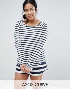 Пижамный комплект с футболкой и шортами в полоску ASOS CURVE - Мульти