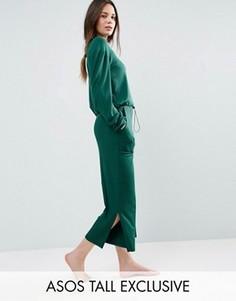 Кюлоты в рубчик с глубокими карманами ASOS TALL LOUNGE - Зеленый