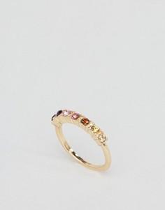 Кольцо с разноцветными камнями ASOS - Золотой
