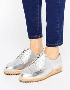 Туфли металлик на шнуровке с контрастной подошвой ALDO - Серебряный