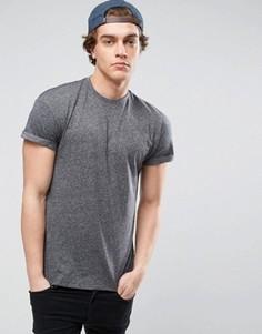 Серая футболка с отворотами на рукавах New Look - Серый