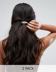 Резинки для волос с металлическим листиком Orelia - Золотой