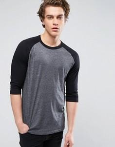 Черная футболка с рукавом реглан длиной 3/4 New Look - Черный
