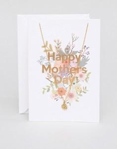 Ожерелье с открыткой Orelia Happy Mothers Day - Золотой