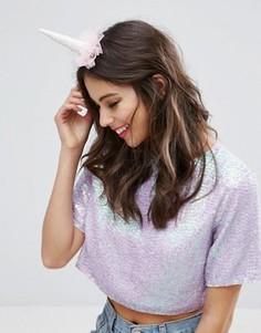 Заколка для волос в виде рога единорога ASOS - Розовый