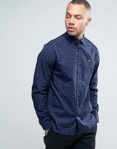 Темно-синяя рубашка классического кроя в горошек с логотипом-орлом Lyle & Scott - Темно-синий