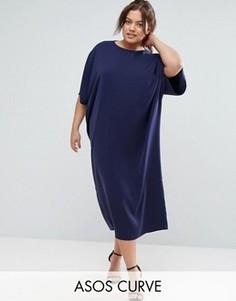 Свободное платье-кимоно макси ASOS CURVE - Темно-синий