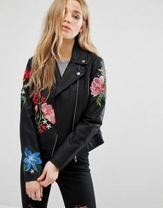 Байкерская куртка с вышивкой New Look Hero - Черный