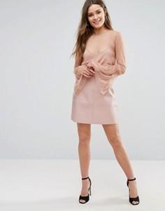 Мини юбка-трапеция из искусственной кожи New Look - Розовый