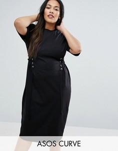 Платье-футболка миди с отделкой под корсет ASOS CURVE - Черный