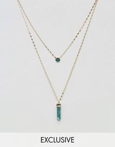 2 ожерелья с зеленым камнем DesignB London - Золотой
