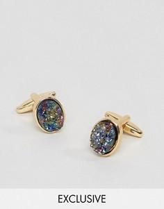 Запонки с камнями DesignB London - Золотой