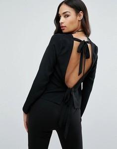 Блузка с длинными рукавами и открытой спиной Missguided - Черный