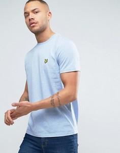Голубая меланжевая футболка классического кроя с логотипом-орлом Lyle & Scott - Синий