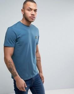 Голубая футболка классического кроя с логотипом-орлом Lyle & Scott - Синий