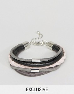 Браслет из искусственной кожи с плетением и черным шнуром DesignB London - Мульти