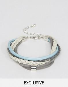Браслет из искусственной кожи с плетением и серым шнуром DesignB London - Мульти