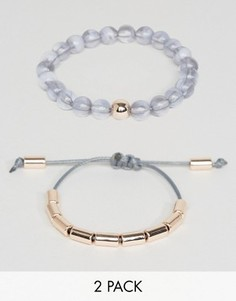 Набор из 2 браслетов с разным дизайном DesignB London - Серый