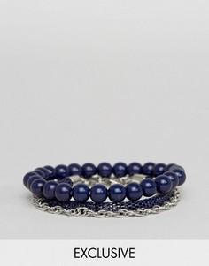 3 темно-синих браслета DesignB London - Темно-синий
