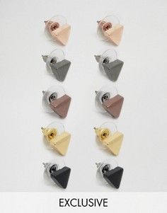 Набор из 5 пар серег-гвоздиков DesignB London - Мульти