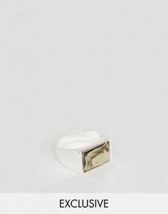 Кольцо с черным камнем DesignB London - Серебряный