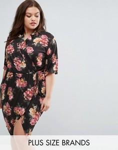 Платье с запахом, воротником и цветочным принтом Pink Clove - Мульти