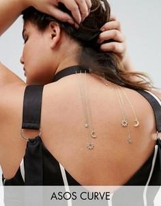 Ожерелье-чокер с подвесками в форме луны и звезды ASOS CURVE - Черный