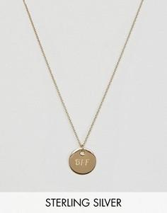 Серебряное позолоченное ожерелье с диском BFF ASOS - Золотой