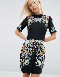 Платье мини с вышивкой ASOS PREMIUM - Черный