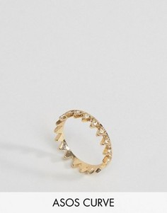 Кольцо на большой палец с треугольниками ASOS CURVE - Золотой