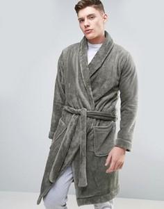 Флисовый халат с шалевым воротником ASOS - Серый