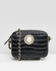Сумка через плечо с крокодиловым узором и ремешком-цепочкой Versace Jeans - Черный