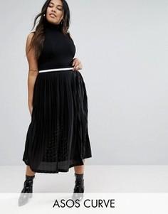 Плиссированная юбка миди с контрастным поясом ASOS CURVE - Черный