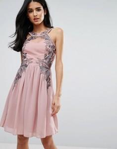 Платье мини с вышивкой Little Mistress - Розовый