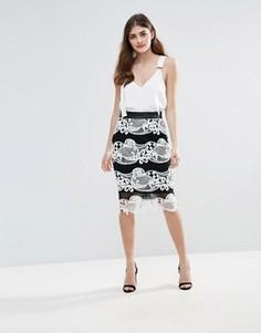 Монохромная кружевная юбка колор блок Little Mistress - Мульти